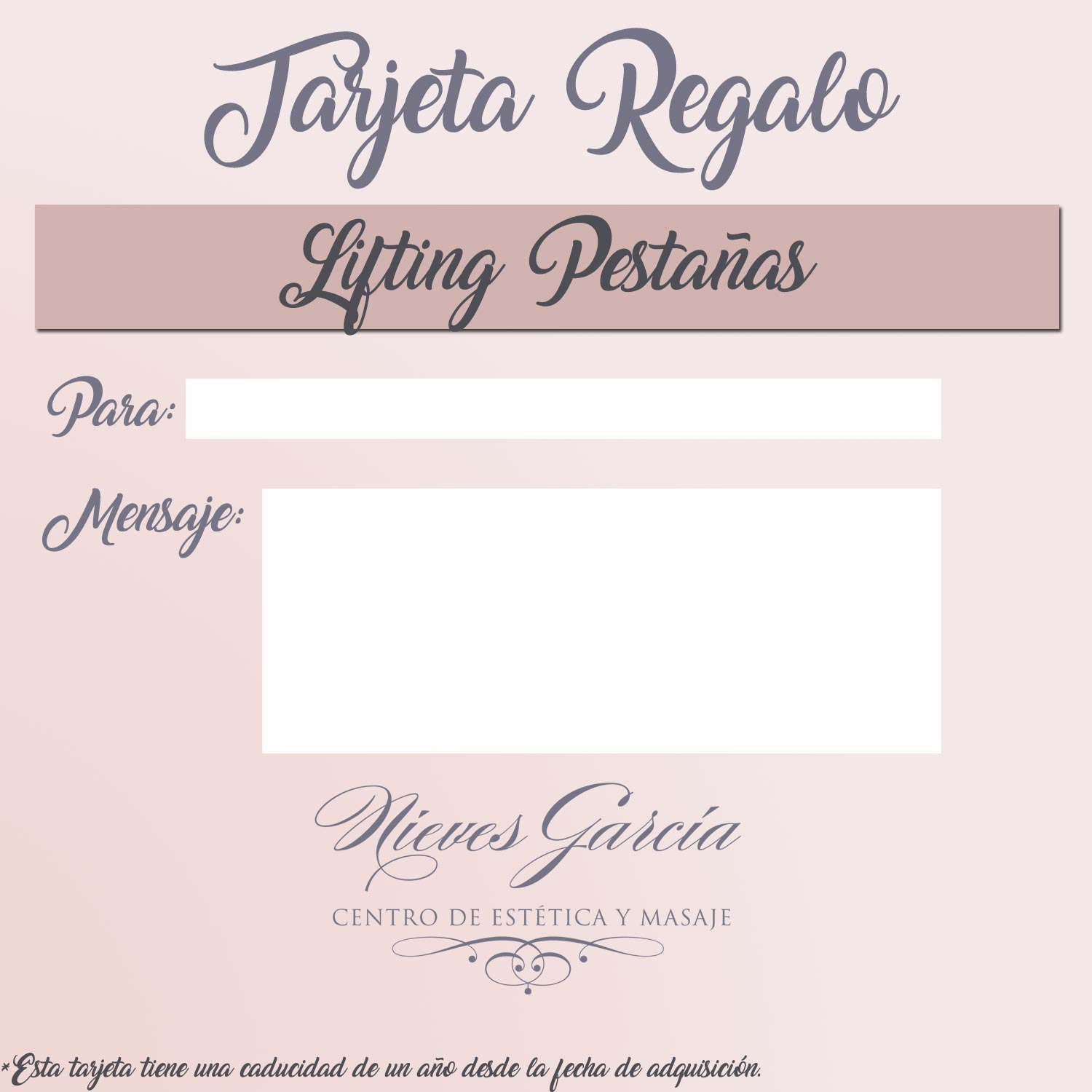 Tarjeta regalo lifting pesta as est tica nieves for Eyelash extension gift certificate template
